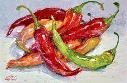 Fresh Chillies I by Lana Okiro -  sized 9x6 inches. Available from Whitewall Galleries